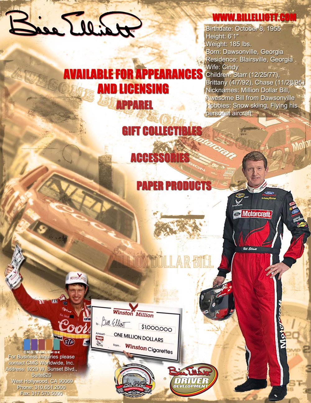 Bill Elliott One Sheet